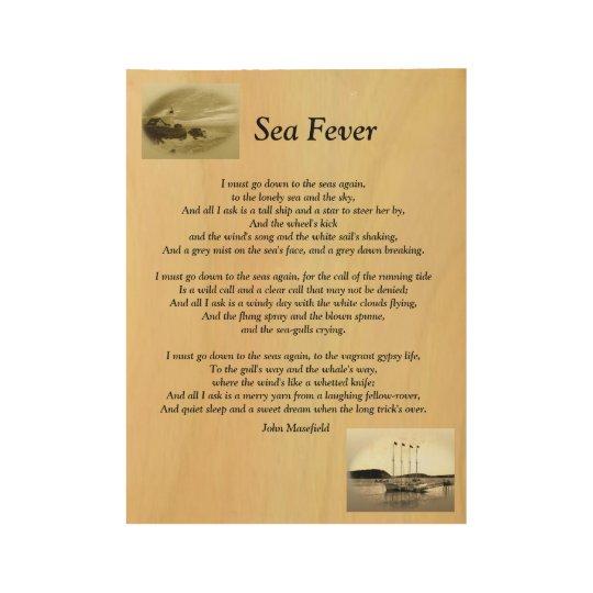 Arte de madera del panel de la fiebre del mar póster de madera