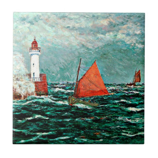 Arte de Maxine Maufra: De nuevo a los barcos de pe Azulejo Cuadrado Pequeño