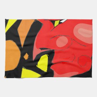 Arte de mueca abstracto del diablo paño de cocina