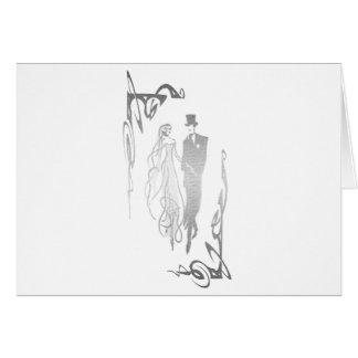 Arte de plata de novia y del novio tarjeta de felicitación