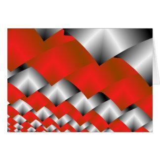 Arte de plata y rojo tejido del fractal tarjeta de felicitación