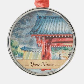 Arte de Tokuriki Tomikichiro Japón del templo de Adorno Redondo Plateado