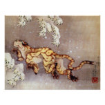 Arte de Ukiyo-e Woodblock - animales - onza Poster