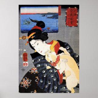 Arte de Ukiyo-e Woodblock - geisha y gato Poster