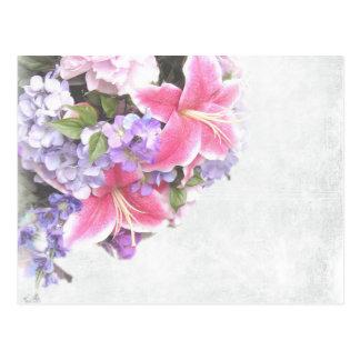 Arte decorativo de la flor rosada hermosa del postal