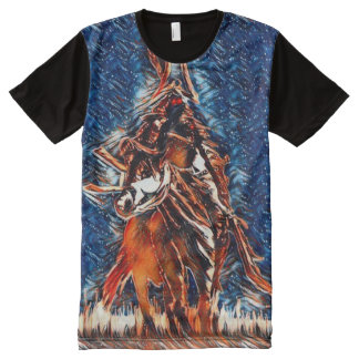 Arte del acrílico de la fantasía del guerrero del camisetas con estampado integral