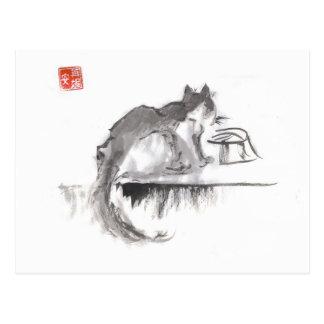 Arte del agua potable del gato postal