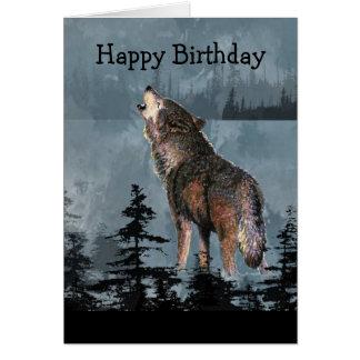 Arte del animal del lobo del grito del feliz cumpl tarjeta de felicitación