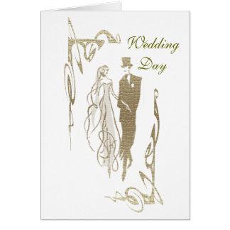 Arte del boda de novia y del novio del oro tarjeta de felicitación