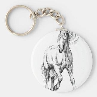 Arte del bosquejo del dibujo del caballo hecho a llavero redondo tipo chapa