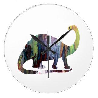 Arte del Brontosaurus Reloj Redondo Grande