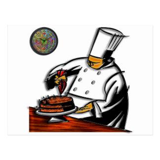 Arte del chef de repostería postal