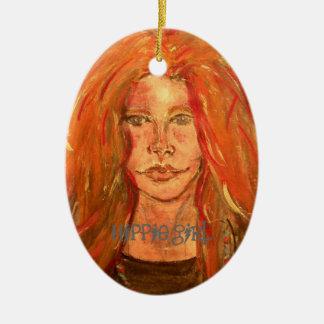 arte del chica del hippie adorno ovalado de cerámica