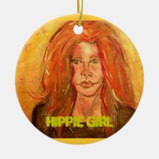 arte del chica del hippie adorno redondo de cerámica