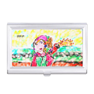 Arte del chica del pirata caja de tarjetas de negocios