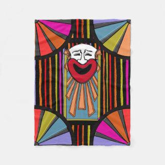 Arte del circo - cara del payaso, rayas y top manta de forro polar