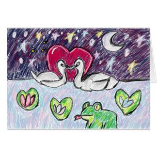 arte del cisne tarjeta de felicitación