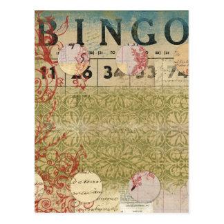 Arte del collage del vintage del bingo postal