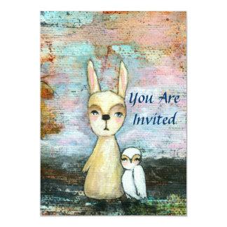 Arte del conejo y del búho del arbolado de la invitación 12,7 x 17,8 cm
