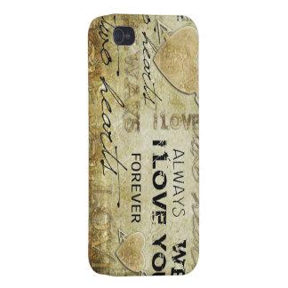 arte del corazón del amor del vintage iPhone 4/4S funda