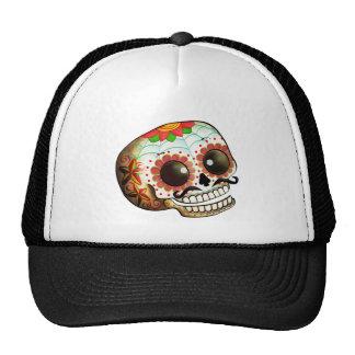 Arte del cráneo de Dia de Los Muertos Sugar Gorro De Camionero