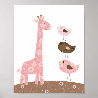 Arte del cuarto de niños de la jirafa y del pájaro