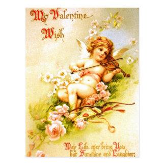 Arte del Cupid de la postal del vintage del violín