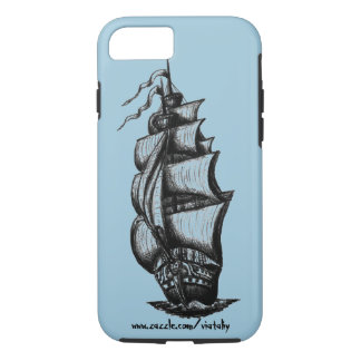 Arte del dibujo de la pluma de la tinta del velero funda iPhone 7