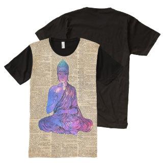 Arte del diccionario del vintage de Buda del Camisetas Con Estampado Integral