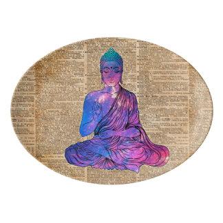 Arte del diccionario del vintage de Buda del Plato De Porcelana