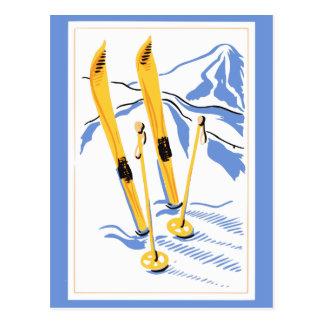 Arte del esquí del vintage postal