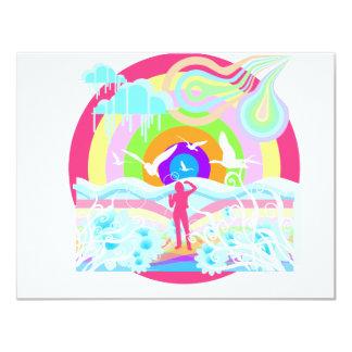 arte del estilo del hippy de los años 60 invitación 10,8 x 13,9 cm