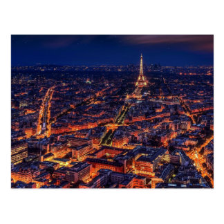 Arte del europeo de la torre Eiffel de la noche de Postal