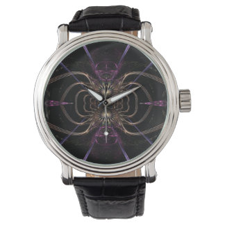 Arte del fractal: Oro y reloj púrpura