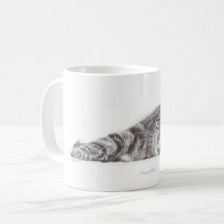 Arte del gato de Tabby, taza del gato, taza para