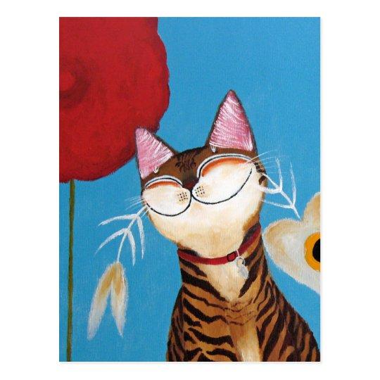 arte del gato - flor del kenzo postal