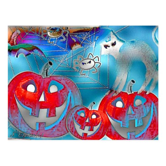 Arte del Gimp de las calabazas de Halloween Postal