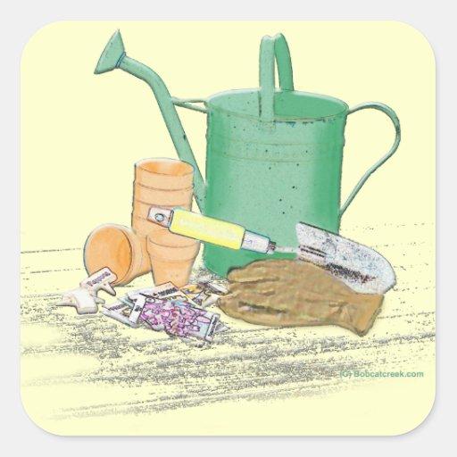 Arte del jard n de los utensilios de jardiner a pegatina for Utensilios de jardineria