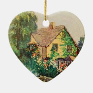 Arte del jardín del vintage - Steele, delegado de Adorno Navideño De Cerámica En Forma De Corazón