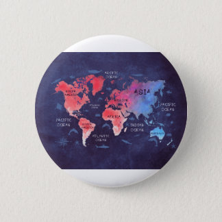 arte del mapa del mundo chapa redonda de 5 cm