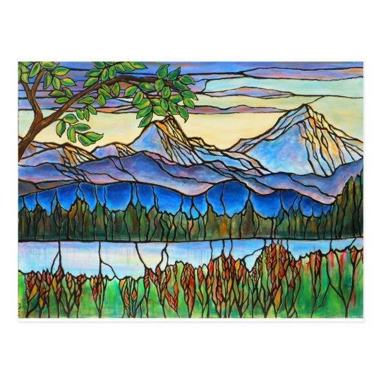 "¡Arte del paisaje del vitral de ""un día Postal"