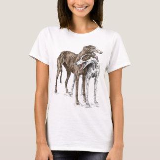 Arte del perro de dos amigos del galgo camiseta