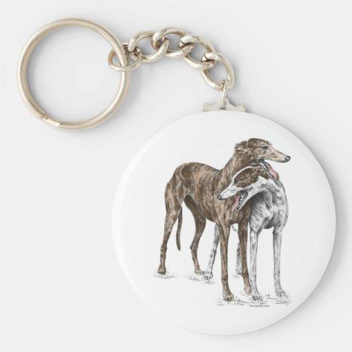 Arte del perro de dos amigos del galgo llavero personalizado