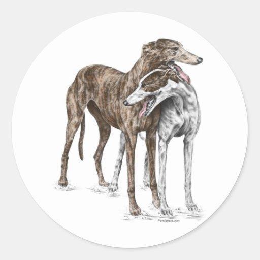 Arte del perro de dos amigos del galgo pegatinas redondas