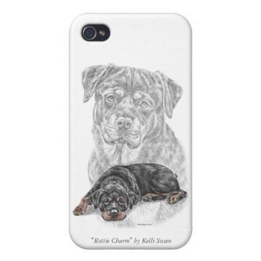Arte del perro de Rottweiler iPhone 4 Fundas