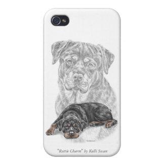 Arte del perro de Rottweiler iPhone 4 Carcasas