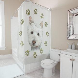 Arte del perro de Westie y cortina de ducha de las