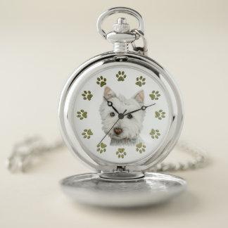 Arte del perro de Westie y reloj de bolsillo de