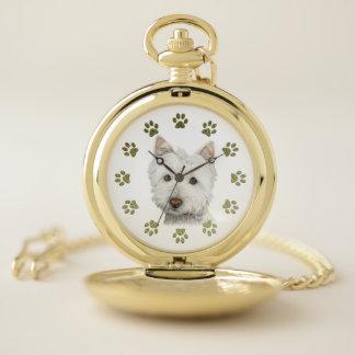Arte del perro de Westie y reloj de bolsillo del