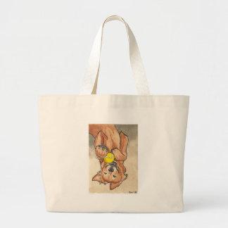 Arte del perro del golden retriever de la diversió bolsa tela grande
